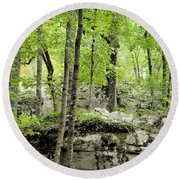 Blissfully Peaceful Round Beach Towel