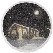 Blizzard At The Cabin Round Beach Towel by Barbara Griffin