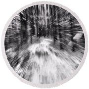 Blizzard In The Forest Round Beach Towel