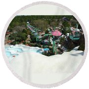Blizzard Ski Lifts Round Beach Towel