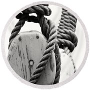 Block And Tackle Of Old Sailing Ship Round Beach Towel