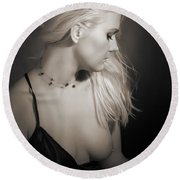 Blond Girl With Naked Breast 1287.01 Round Beach Towel
