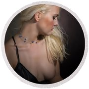 Blond Girl With Naked Breast 1287.02 Round Beach Towel
