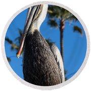 Blond Pelican Round Beach Towel