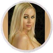 Blonde Beauty Round Beach Towel