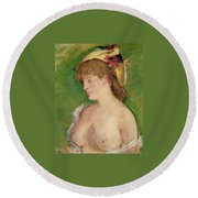 Blonde With Bare Breasts Round Beach Towel