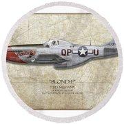 Blondie P-51d Mustang - Map Background Round Beach Towel