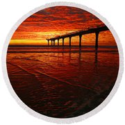 Blood Red Dawn Round Beach Towel