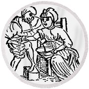 Bloodletting, 15th Century Round Beach Towel