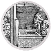 Bloodletting, C1500 Round Beach Towel
