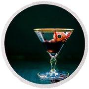 Bloody Eyeball In Martini Glass Round Beach Towel by Edward Fielding