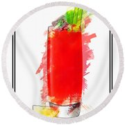 Bloody Mary Cocktail Marker Sketch Round Beach Towel