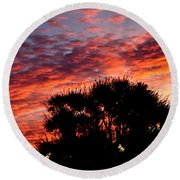 Bloody Sunset Over Palm Desert Round Beach Towel