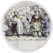 Bloomer Cartoon, C1851 Round Beach Towel