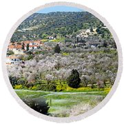 Blooming Almond Trees Round Beach Towel