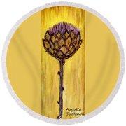 Blooming Artichoke - Cynara Cardunculus Round Beach Towel