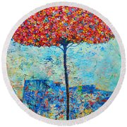 Blooming Beyond Known Skies - The Tree Of Life - Abstract Contemporary Original Oil Painting Round Beach Towel by Ana Maria Edulescu