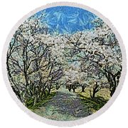 Blooming Cherry Tree Avenue Round Beach Towel