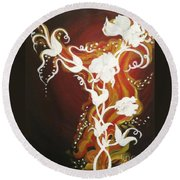 Blooming Flame Round Beach Towel