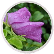 Blooming In The Rain Round Beach Towel
