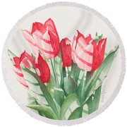 Sunlit Tulips Round Beach Towel