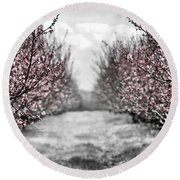 Blooming Peach Orchard Round Beach Towel