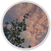 Blooming Tree And Sky Round Beach Towel