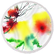 Blooms 3 Round Beach Towel