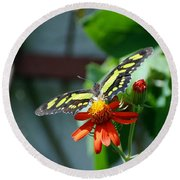 Blooms And Butterfly2 Round Beach Towel