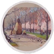Blooms On Comm Ave Round Beach Towel
