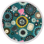 Blooms Teal Round Beach Towel