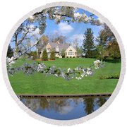 Blossom-framed House Round Beach Towel