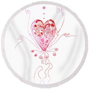 Blossoming Love Pink And Red Valentine Round Beach Towel