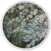 Blossoming River Round Beach Towel
