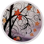 Blossoms Of The Orient Round Beach Towel