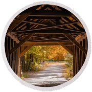 Blow-me-down Covered Bridge Cornish New Hampshire Round Beach Towel by Edward Fielding
