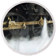 Blowing Of Steam Round Beach Towel