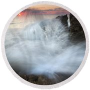 Blowing Rocks Sunrise Explosion Round Beach Towel by Mike  Dawson