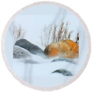 Blowing Snow And Rocks Round Beach Towel