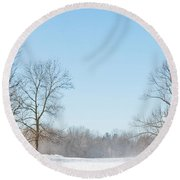 Blowing Snow Round Beach Towel