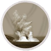 Blowing Up Arch Rock In San Francisco Bay Aug. 16, 1901 Round Beach Towel