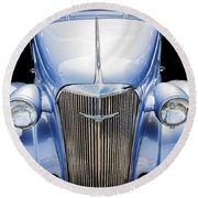 Blue 1937 Chevy Too Round Beach Towel