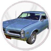 Blue 1966 Pointiac Lemans Round Beach Towel