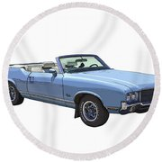 Blue 1971 Oldsmobile Cutlass Supreme Convertible Round Beach Towel