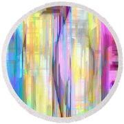 Blue Abstract 2 Round Beach Towel