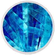 Blue Abstract Art - Paths - By Sharon Cummings Round Beach Towel