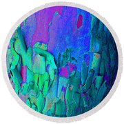 Blue Abstract Trunk Round Beach Towel