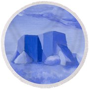 Blue Adobe Round Beach Towel