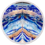 Blue Agate Abstract II Round Beach Towel