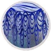 Blue And Black Swirl Abstract Round Beach Towel